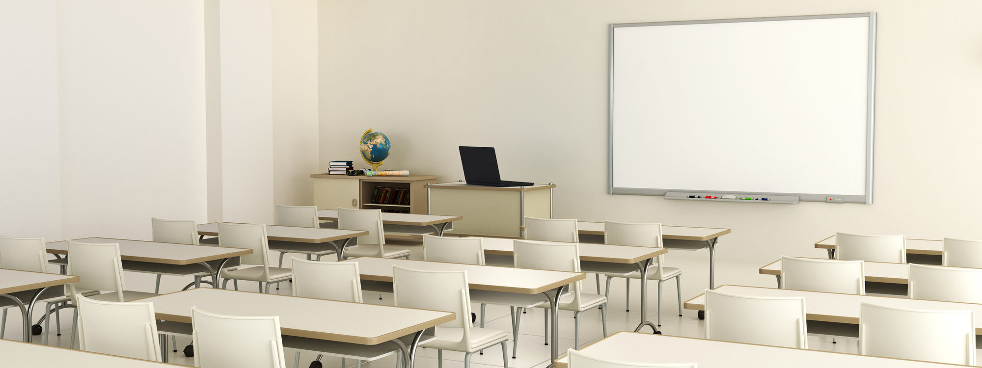 empty classroom with projector and smart board