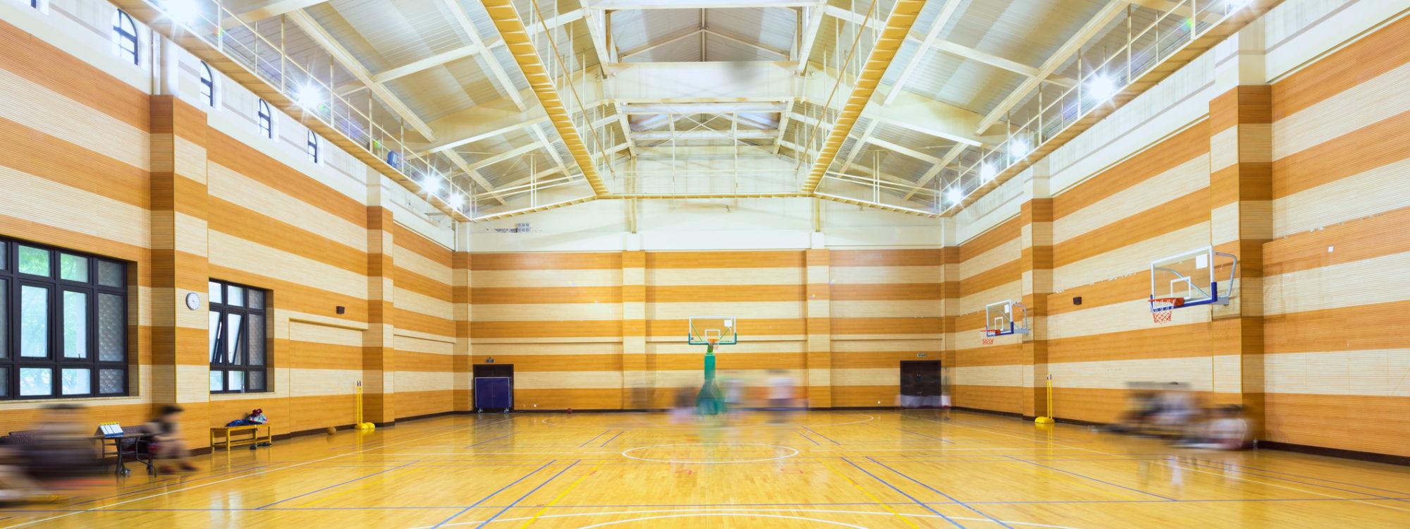 empty basketball court in modern gym