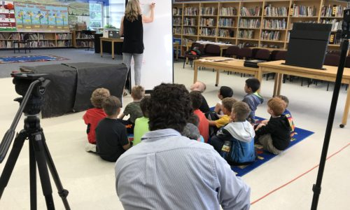 students listening to Bat habitat presentation