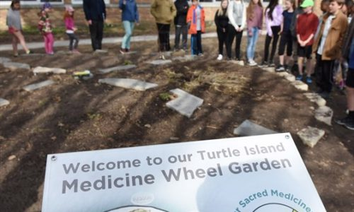 Students standing around Medicine Wheel Garden