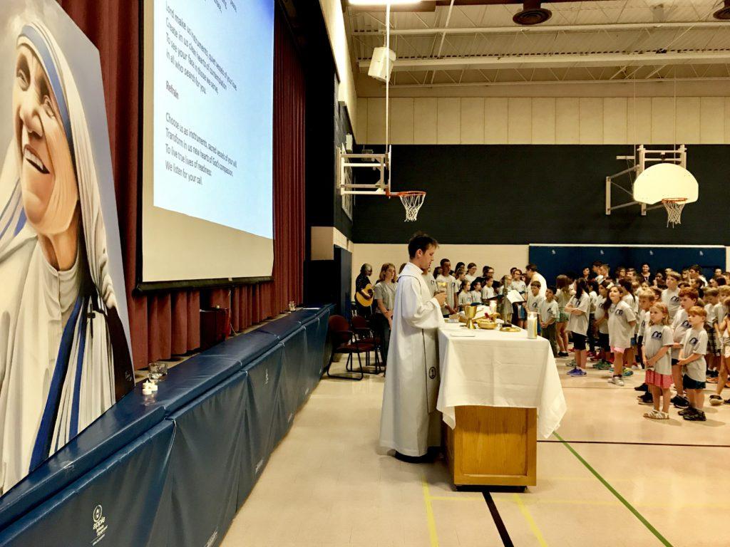 school mass in gymnasium