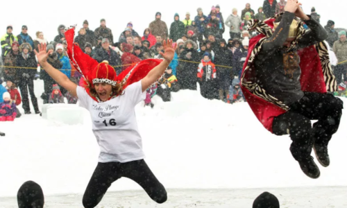 student performing the Polar Plunge