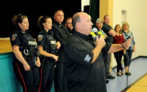 Pedal for Hope officer presentation to Holy Family Catholic Elementary School in Bowmanville