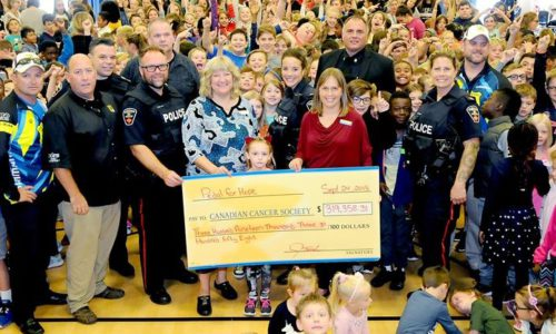 Pedal for Hope Cheque presentation to Holy Family Catholic Elementary School in Bowmanville