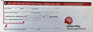United Way Payroll Deduction Tear off