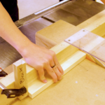 student using table saw