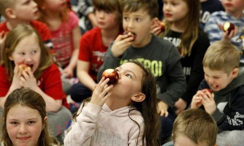 students eating apples