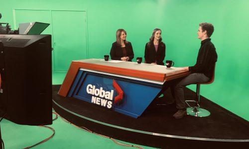 student being interviewed at tv studio