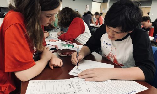 students working during math competition
