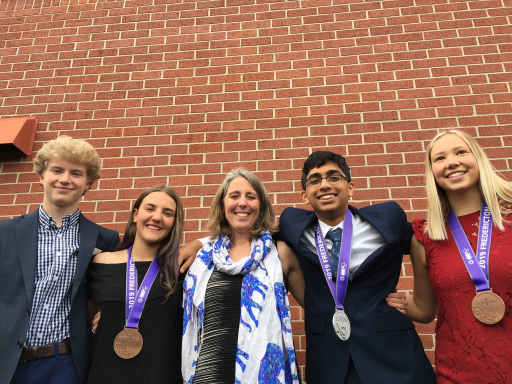 winners of science fair with medals