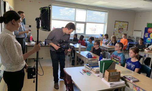 film crew recording in a class