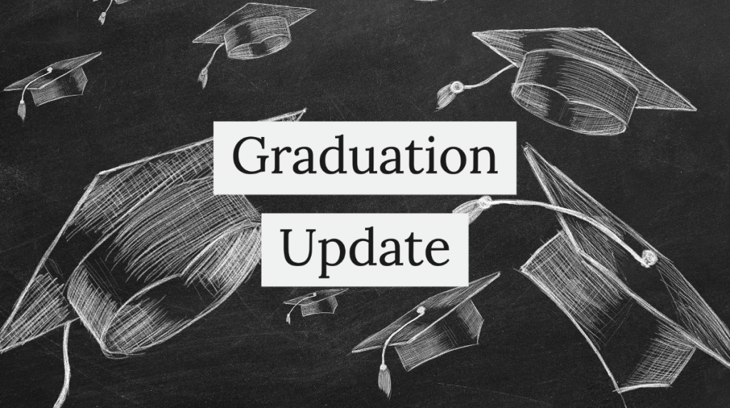 Graduation update Visual with grad hats depicted on chalkboard
