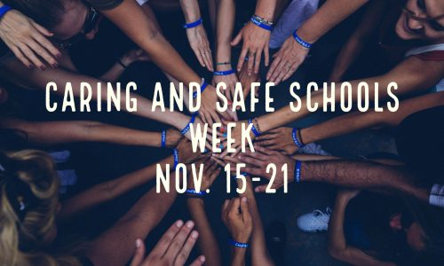 Image conveys outstretched hands in an embrace as a symbol of Caring and Safe Schools Week