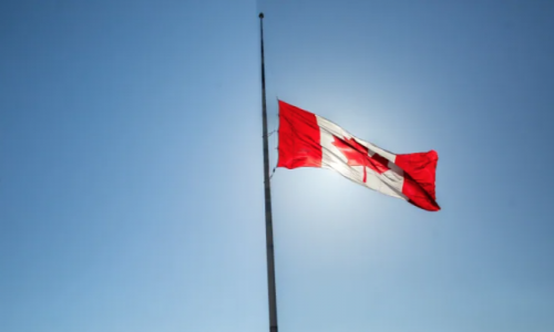 Half-Mast Canadian flag
